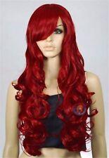 wigs Rouge long bouclé Femmes cheveux sain Cosplay perruque de fête