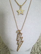 Auth Betsey Johnson Vintage Pave Lightning Bolt Star Rocker 2 Row Chain Necklace