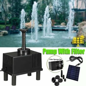 180L/H Solar Panel Powered Water Feature Pump Garden Pool Pond Fountain w/Filter