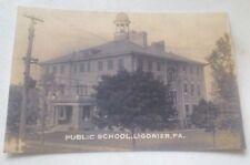 Old Ligonier PA. Public School (Now Gone) Postcard Repo