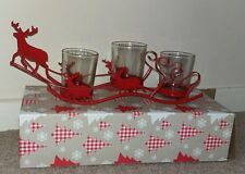 Christmas Scandi-Style Glass Tea light Holders  Iron Reindeer Red Sleigh