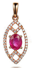 1.05CT NATURAL DIAMOND RUBY 14K ROSE GOLD WEDDING ANNIVERSARY PENDANT