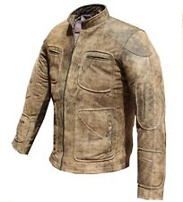 Men's Fashion 100% Pure Leather Dirty Brown Jacket Motorcycle style casual hot