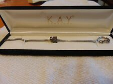 "NEW KAY JEWELERS CHARMED MEMORIES STERLING SILVER CHARMED BRACELET ""K"" 9in Chain"