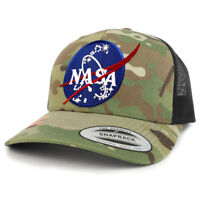 NASA Insignia Patch Camouflage Structured Trucker Mesh Baseball Cap - FREE SHIP