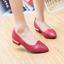 Fashion Women Girls Pointy Toe Bling Sequins Casual Gold Flats Shoes Plus Size