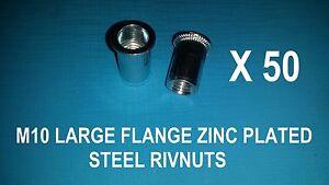50X STEEL ZINC PLATED RIVNUTS M10 NUTSERT RIVET NUT LARGE FLANGE NUTSERTS RIVNUT