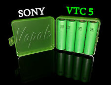 4 SONY US18650 VTC5 2600mAh High Drain Flat Top Rechargeable Battery/Green Case