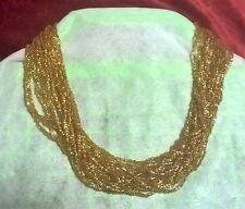 VINTAGE Scintillanti D'ORO Vetro Perline Collana Multi-Strand a 38cm + Extender in buonissima condizione