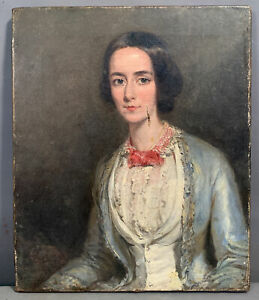 Ca.1840 Antique 19thC Young ANTEBELLUM Era LADY PORTRAIT Old VICTORIAN PAINTING