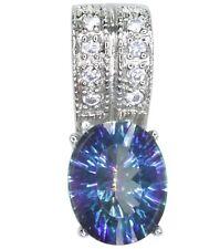 Mystic Quartz Blue Gemstone Oval Sterling Silver Pendant + Chain