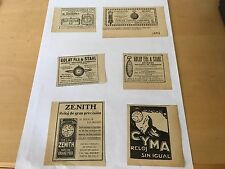 6 Old Advertisements RELOJES 6 Anuncios Antiguos - ZENITH  CYMA - For Collectors
