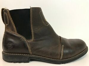 Timberland Men Chelsea Boots Size 11.5 Burnished Brown Leather Slip On Excellent