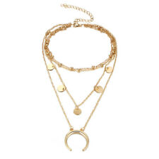 Multi Layer Chain Necklace Gold Sequins Moon Pendant Beads Choker Women Jewelry