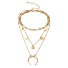Moon Pendant Gold Cross Chain Chunky Choker Bib Statement Necklace Jewelry Gift