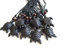 Sea Turtle Pendant Necklace Adjustable Wholesale Lot 12 Pcs Black