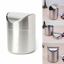 Stainless Steel Trash Bin Swing Lid Desk Countertop Waste Can 1.5L Mini Dustbin