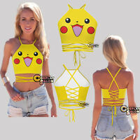 Women Ladies Camisole Pocket Monster Pokemon Go Pikachu Anime Cosplay Costume