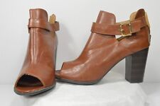 Fioni Brown Fashion Dress Casual Open Ankle Zip Bootie Heels Sandal Size 12