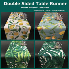 Tropical Leaf Lemon Tree Double Layer Cotton Linen Table Runner Home Party Decor