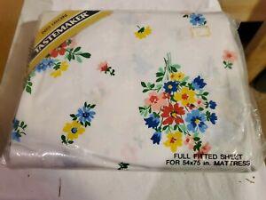 Vintage Tastemaker Happy Flower No Iron Full Fitted Sheet (NIP)