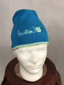 NWT Burton Girls Hat Belle Beanie Green Blue Reversible