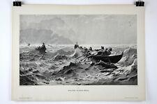 """1890s German Wood Block Print Moderne Kunst 16"""" x 22.25"""" IN HIGH WAVES"""