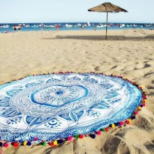 Indian Tapestry Mandala Multi Pompom Round Cotton Table Cloth Beach Blanket 70""