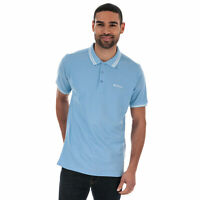 Mens Ben Sherman Twin Tipped Collar Short Sleeve Cotton Polo Shirt In Sky Blue