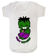 Baby Hulk little Angry superhero funny costume Bodysuits son dad Cotton 0-24