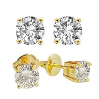 Diamond-Unique  2ct Solitaire Solid Gold 18ct Stud Earrings 4 Claw