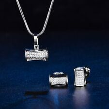 White Gold Filled Sapphire Crystal Vintage Womens Silver Earrings Necklace Set