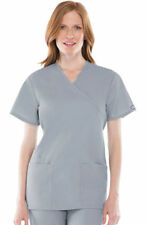 Cherokee Women's Short Sleeve Two Patch Pockets Mock Wrap Tunic Scrub Top. 4801