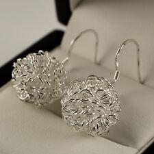 Pretty 925 Stamped Silver Wire Mesh Ball Dangle Drop Earrings UK 100