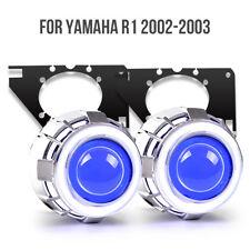 KT LED Angel Demon Eye HID Projector for Yamaha YZF R1 2002-2003 Headlight Blue