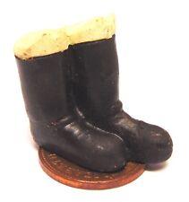 1:12 Scale Pair Of Black Ladies Boots Tumdee Dolls House Clothing Footwear BA8