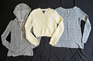 Lot of 3 SWEATERS Forever 21, Cropped Fuzzy Angora/Cashmere Style, Hoodie Sz. S