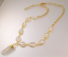 Vintage Genuine Moonstone Nugget Lavaliere Necklace Gold Filled or Gold Plated