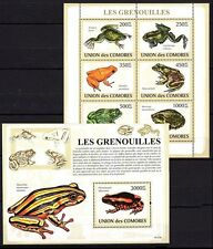 Comoros 2009 MNH MS + SS, different Species of Frogs, Amphibians
