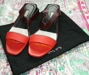 Paul Smith Leather Sandals Shoes Flats Size 39.5 Uk 6.5 In Dust Bag Orange