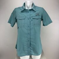 Columbia Womens Short Sleeve Button Front Vented Shirt Mint Green
