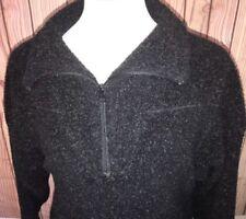 Woolrich Thick Deep Pile Sherpa Fleece Black Jacket 1/2 Zip Mens Sz Med USA Made