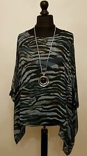 New QUIRKY Italian LaGeNLooK ANIMAL Print Kaftan Silk MIX draped side Top  12-18