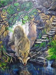 Original oil painting wolve in nature . Landscape handpainted Animal 30×24