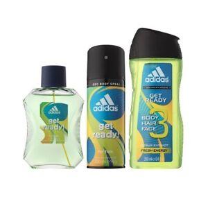 Adidas Get Ready! 3pc Set 50ml EDT (M) Mens 100% Genuine (New)