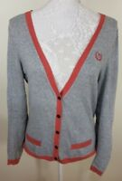 Proenza Schouler For Target Ladies Grey Red Cashmere Cardigan Size UK 14 US 10