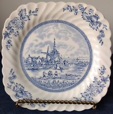 "Johnson Brothers ~ ""Tulip Time"" ~ 7½"" Square SALAD PLATE ~ Blue on White"