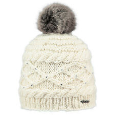 BARTS NEW Women's Cream Knitted Pom Beanie Claire Faux Fur BNWT