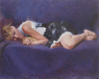 PURPLE DREAMS Non Nude Female Figure Contemporary Realism OIL PAINTING Framed