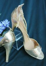 Vintage 70s Charles Jourdan high Heel shoes Gold Metallic snakeskin Leather 8 M
